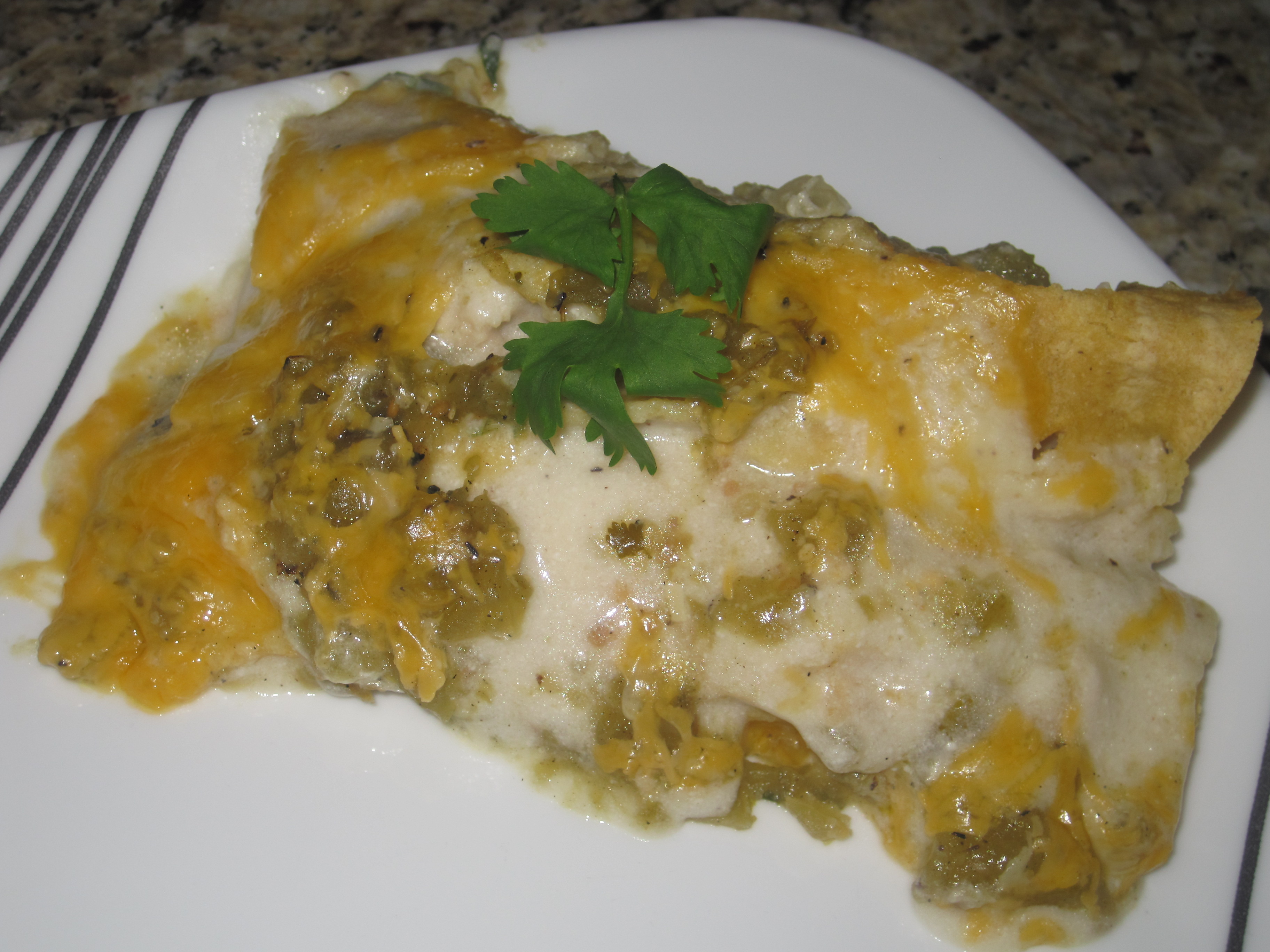 enchiladas. This time we stuffed them with cheesey chicken and spinach ...